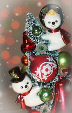 Vintage Christmas Bottle Brush Tree w/ Snowman Cup Decoration Ornaments Winter