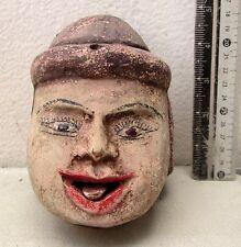 XL VINTAGE Teak Wood Puppet Head Movable Tongue