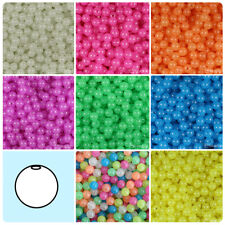 BeadTin Glow 8mm Round Plastic Beads (300pcs) - Color choice