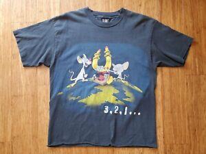 Vintage 90's Pinky And The Brain Cartoon T Shirt Size L/XL Raw Hem