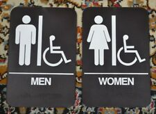 2 Mens & Womens Handicap Restroom Signs A.D.A. Compliant ADA Braille  - Brown