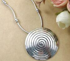 Huge Tibetan Silver Spiral Circle 8 Petal Shaped Medallion Pendant Necklace
