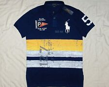 POLO RALPH LAUREN Custom Fit BIG PONY Painted, Nautical, Mesh Polo Shirt, MEDIUM