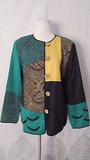Women's Julia Ken Jacket Blazer Tapestry Embroidered Fall Colors Gold Size M