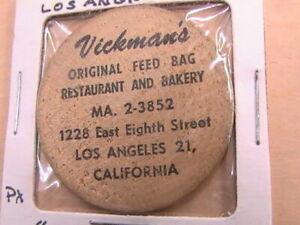 WOODEN NICKEL VICKMAN'S ORIGINAL FEED BAG RESTAURANT LOS ANGLES CALIFORNIA