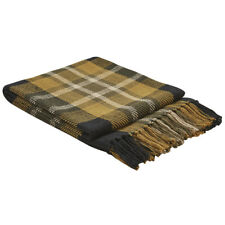 New Primitive Country Black Mustard Plaid Throw Afghan Blanket