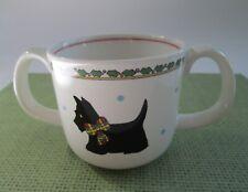 "MIKASA Japan Child's Cup w/ 2 Handles BLACK SCOTTIE DOGS ""Scotch Pine"" CC901"