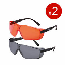 Shooting Hunting Safety Glasses Smoke Gray Lens*1, Orange Lens*1 ANSI Anti-Fog
