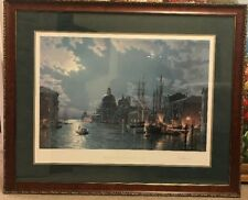 "RARE John Stobart Print VENICE ""Moonlight Over The Grand Canal c. 1870"" S/N"