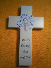 Kinderkreuz mit Spruch Holzkreuz Kreuz Motiv Lebensbaum blau Taufe Kommunuin