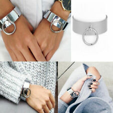 Girl Stainless Steel Silver Round Shaped Wide Cuff Opening Bangle Women Bracelet