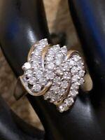 Natural Diamond Designer Cluster 10 Ct Solid Gold Ring, Engagement, Wedding