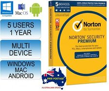 Norton Internet Security Premium - 5 User Anti-Virus 2018 (FREE EXPRESS POST)