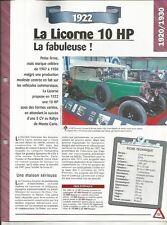 VOITURE LA LICORNE 10 HP FICHE TECHNIQUE AUTO 1922 COLLECTION CAR