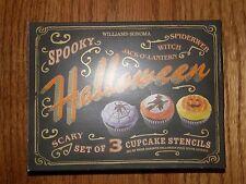 3 Designs-Williams Sonoma Halloween Cupcake Stencils-Witch,Pumpkin,Spider Web-Ne