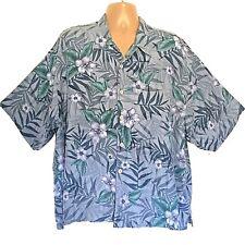 Vintage Old Maui Brand Hawaiian Shirt XXL Floral Hibiscus Flowers 100% Silk Blue
