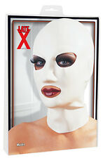 MASK LATEX GERMANY .4MM THICK EYE & MOUTH OPENING SM NOSE HOLES WHITE ONE SIZE