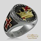 Knights Templar Masonic Ring .925 Silver Freemason Gold 18K Plated by UNIQABLE