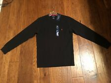 NWT Polo Ralph Lauren Men's Black Long Sleeve Waffle Shirt Large