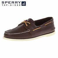 Men's Sperry Top-Sider Original A/O 2-Eye Boat Shoes Brown Leather All Size NIB