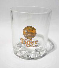 TIGER BEER Short Clear Vintage GLASS SINGAPORE Tiger Logo Tooth base Tumbler 3.5