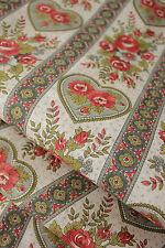 Vintage floral heart printed loose weave cotton yardage UNUSED light weight