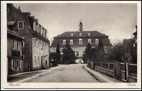 Herrnhut alte Ansichtskarte 1928 Partie an der Kirche Dorfstraße gelaufen