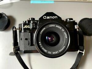 Canon A-1 35mm SLR film camera w/ 28mm Lens