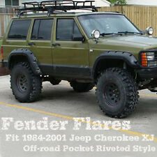 Fit 84-01 Jeep Cherokee XJ 4DR Pocket Rivet Style ABS Fender Flares Wheel 6 PCS