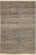 4X6 Hand-Knotted Gabbeh Carpet Modern Ivory Fine Wool Area Rug D45153