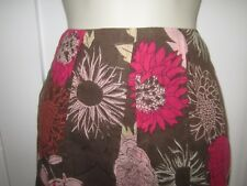 Ladies size 8 Cotton Traders chocolate brown pinks burnt orange mix floral skirt
