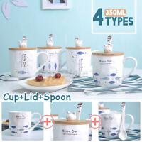 350ML Fish Cat Pattern Coffee Mug Ceramic Lid&Spoon Ceramic Tea Milk Cups Gift