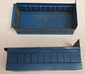 12x SSI Schäfer Sichtlagerkästen Metall Kästen Box Kiste Kasten blau 34x16x10 cm