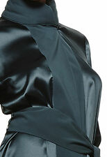 La Perla Seta Vestaglie Collection M Short Silk Robe Dark Green New $753