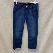 Hudson 31 Bacara Crop Straight Cuffed Jeans Dark Wash Stretch Denim