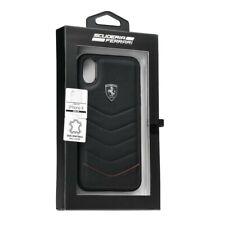 Ferrari Coque pour iPhone X en cuir véritable noir