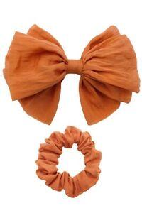 ScarvesMe Boutique Women Solid Bow Barrette and Scrunchie Set
