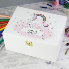 Personalised Unicorn Keepsake Box Boîte à Bijoux Filles Rose Cadeau D'Anniversaire