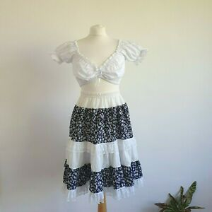 Stunning Vintage 70s 80s Milkmaid Prairie Frill Layered Floral Gypsy SKIRT S/M