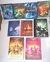 Lot #1-5 Lightning Thief books + 2 DVD Rick Riordan Percy Jackson 1-2 Kane Chron