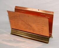 Vtg Copper Napkin Holder Hammered Wheat Design Coppercraft Guild Taunton Mass