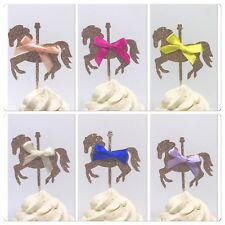 Carousel cupcake toppers, carousel toppers, merry go round toppers