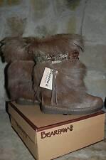 NWT BEARPAW Kola II Boots Womens 6 7 Maple Brown Goat Fur Calf Skin Feather Band