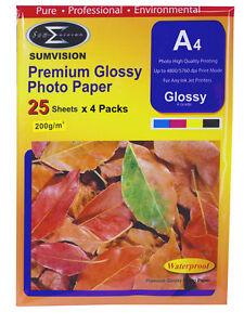 A4 Premium Glossy Sumvision Inkjet Deskjet Photo Paper 200gsm 200 sheets 8 Packs