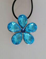 Kautschukkette Anhänger 4 cm Blume türkis blau Mode-Stein Strass dunkelblau NEU