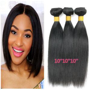 3pcs Straight human hair Natural color short Brazilian Virgin hair Extensions