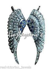 Sapphire Angel'S Wing Antique Style Necklace Gorgeous Rose Cut Diamond & Blue