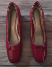 California Magdesian Womans Ladies Low Heels Size 6 Narrow Red Leather