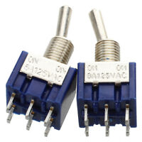 2 Pcs Blue Mini DPDT ON/ON Toggle Switchs w 6 Terminals CP