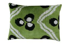 """Velvet Ikat Pillow Cushion Cover Green Black Pillow Case 16""""x24"""" (40x60 cm)"""